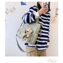 High Quality Fashion Schoolbag Women Bags Ladies Handbags Nylon Large Size Shipping Bags Jean Shoulder Crossbody Bags with Lovely Toy Pendant on