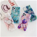 Marble Pattern Gilded Electroplating Protective Case Cover for iPhone and Samsung Phones