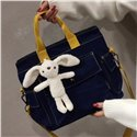 Fashion Schoolbag 2021 Women Bags Ladies Handbags Large Size Jean Shoulder Crossbody Bags with Lovely Toy Pendant on for Girls