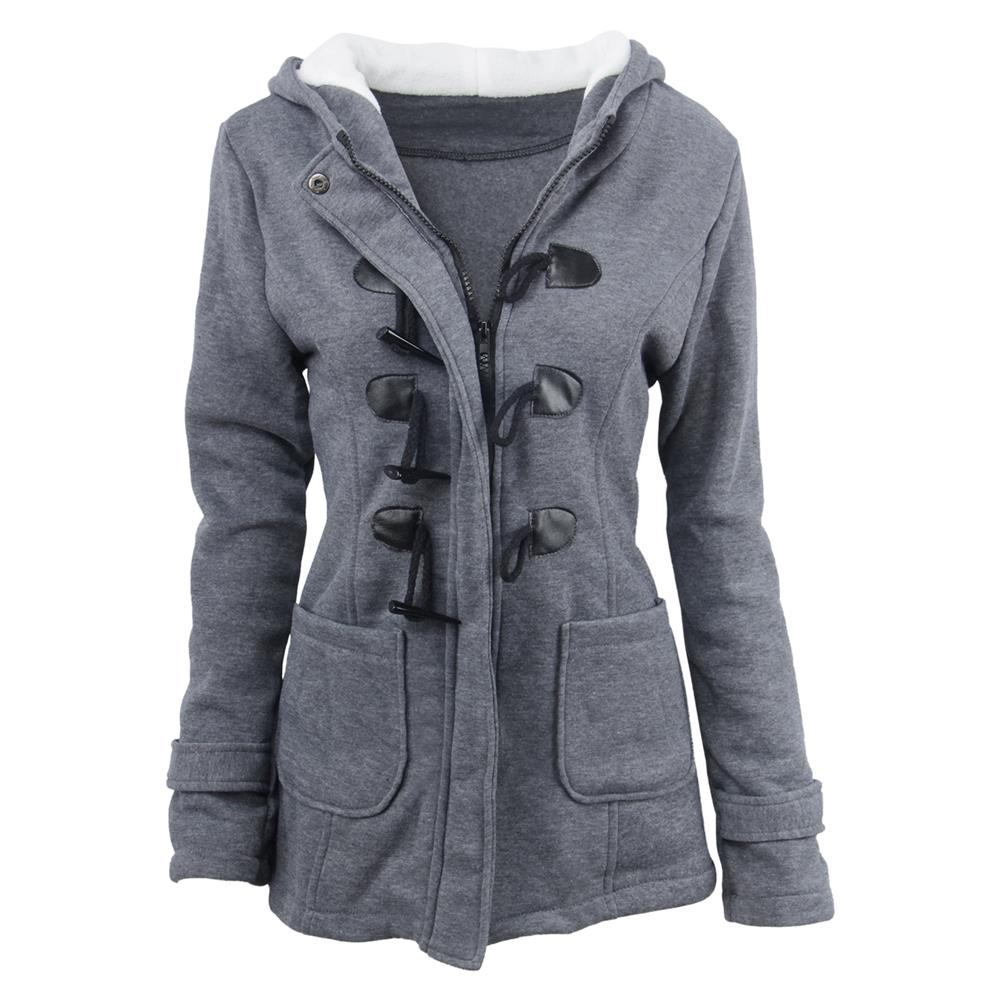 Hooded cotton blend horn leather buckle in the long coat jacket cotton coat women